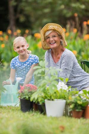 Glückliche Großmutter und Großvater im Garten an einem sonnigen Tag Standard-Bild - 42215470