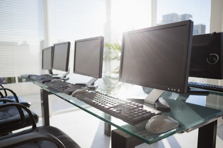 composite image of computer in front of window in office Stock Photo - 42215001