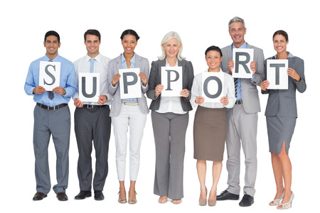people holding sign: Business people holding sign on white background