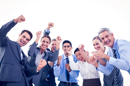 cheerful businessman: Business people cheering in office on white background Stock Photo