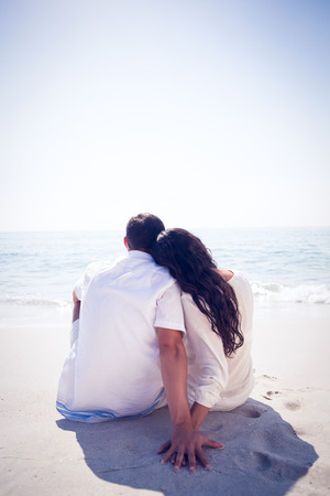 romantic couple: Romantic couple on the beach on a sunny day Stock Photo
