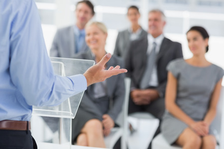Businessman doing conference presentation in meeting room Stock Photo