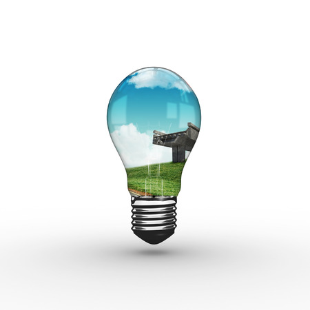 leading light: Empty light bulb against road leading out to the horizon Stock Photo