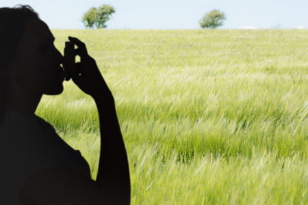 asthmatic: Asthmatic brunette using her inhaler  against green meadow Stock Photo