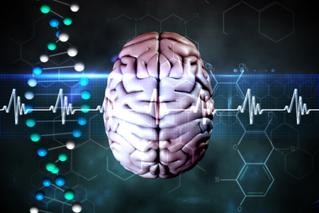 brain against blue dna strand with ecg line Stock Photo - 42227063