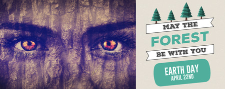 face in tree bark: Earth Day Graphic against grey