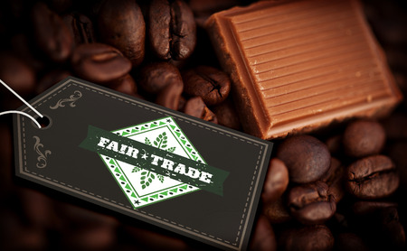 fair: Fair Trade graphic against piece of chocolate and coffee seeds together