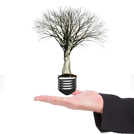 hand out: Businessman holding hand out in presentation against empty light bulb Stock Photo