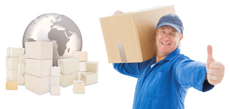 global logistics: Happy delivery man holding cardboard box against logistics concept