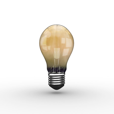 computer animation: Empty light bulb against green grass Stock Photo