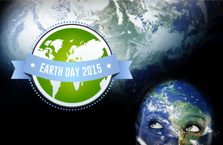 world thinking: Earth day 2015 against earth overlay on face
