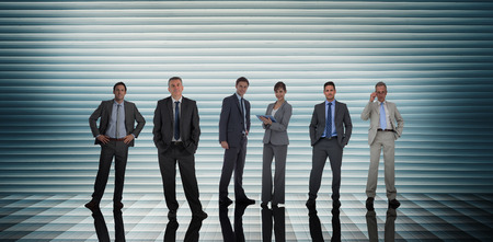shutters: Business people against grey shutters Stock Photo