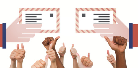 posting: Hands giving thumbs up  against hand posting letter