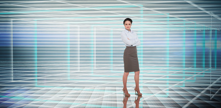 against abstract: Businesswoman with arms crossed against abstract technology background Stock Photo