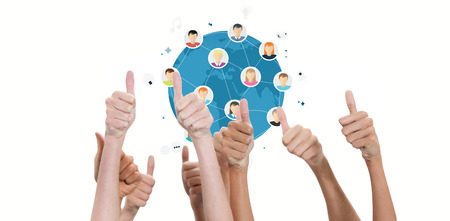 community: Thumbs raised and hands up  against online community
