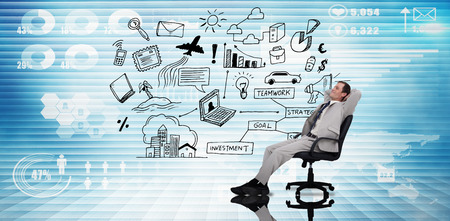 swivel: Businessman relaxing in swivel chair against futuristic technology interface