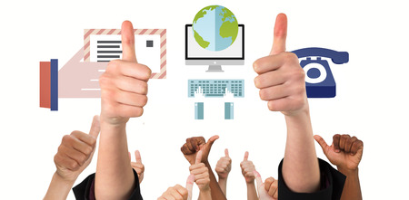 euphoria: Hands showing thumbs up against business graphics Stock Photo