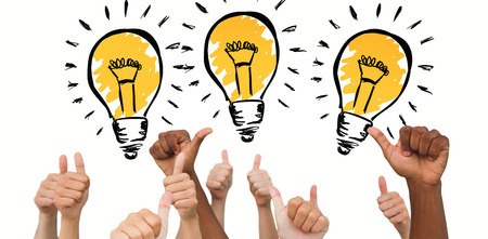Hands giving thumbs up  against light bulb