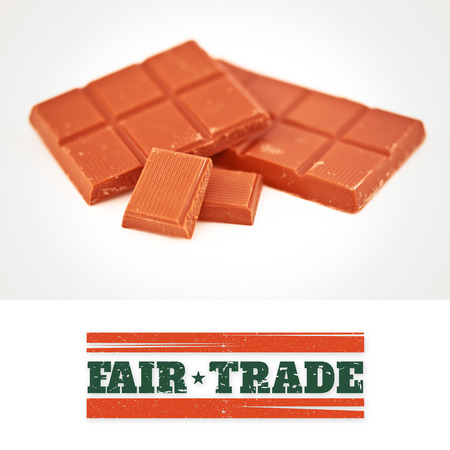 fair trade: Fair Trade graphic against two bars of chocolate Stock Photo