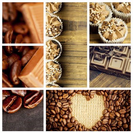 indent: Chocolate pieces and coffee beans side by side against heart indent in coffee beans