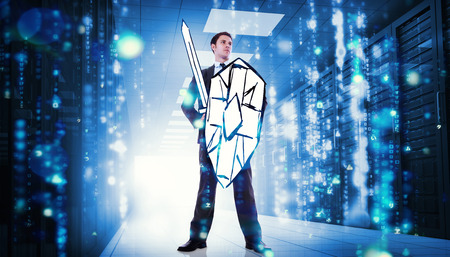 computer center: Corporate warrior against matrix falling in data center Stock Photo