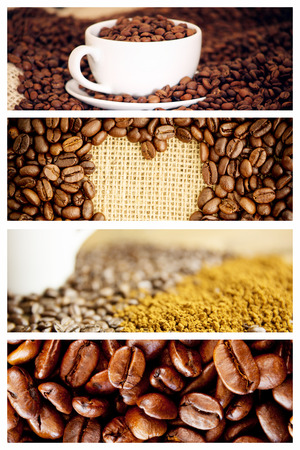 indent: Morning coffee with Beans  against heart indent in coffee beans Stock Photo