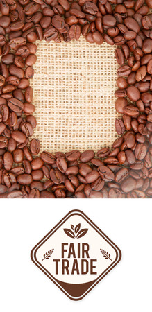 indent: Fair Trade graphic against coffee beans with rectangular indent for copy space