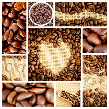 indent: Heart indent in coffee beans against close up of coffee seeds