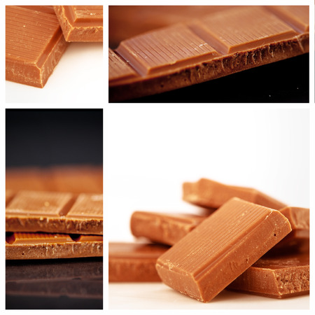 two pieces: Two pieces of milk chocolate against chocolate pieces piled together
