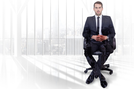 stern: Stern businessman sitting on an office chair  against high angle view of city