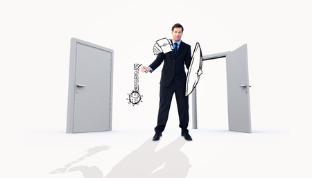 open business: Corporate warrior against closed and open doors Stock Photo