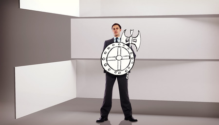 against abstract: Corporate warrior against abstract room