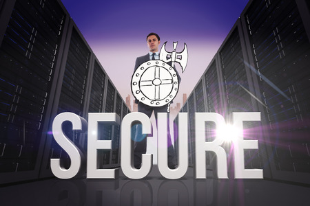 secure: Corporate warrior against secure Stock Photo