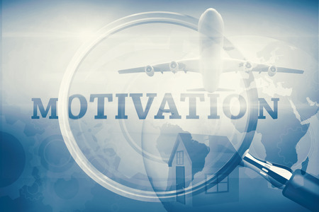 buzz word: Graphic airplane against magnifying glass showing motivation word Stock Photo