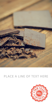 temptations: Fair trade stamp against chocolate bar Stock Photo