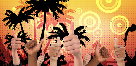 euphoria: Hands showing thumbs up against digitally generated palm tree background Stock Photo