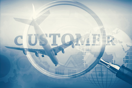 buzz word: Graphic airplane against magnifying glass showing customer word