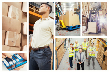 figuring: Boxes on trolley in warehouse against forklift machine in warehouse Stock Photo