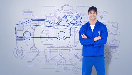 mecanico: Confiando llaves de rueda de retenci�n mec�nico contra vi�eta gris