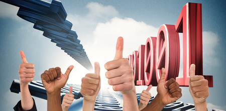 up code: Hands showing thumbs up against 3d binary code in sky Stock Photo