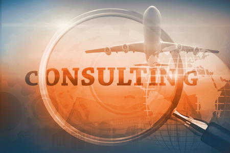 buzz word: Graphic airplane against magnifying glass showing consulting word