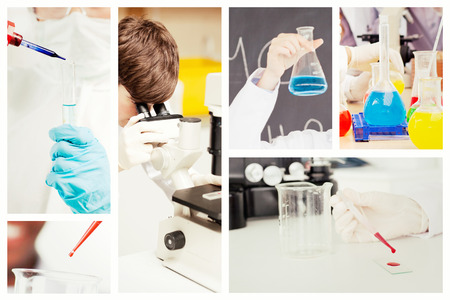 security safety: Portrait of a protected scientist dropping a liquid in a test tube against scientist looking in a microscope