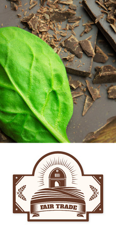 fair trade: Fair Trade graphic against chocolate and basil Stock Photo
