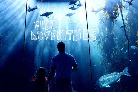 fishtank: find adventure against father and daughter looking at fish tank Stock Photo