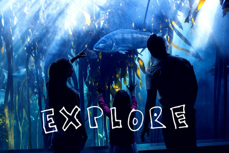 fish tank: explore against happy family looking at fish tank Stock Photo