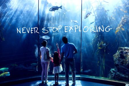 exploring: never stop exploring against family looking at fish tank