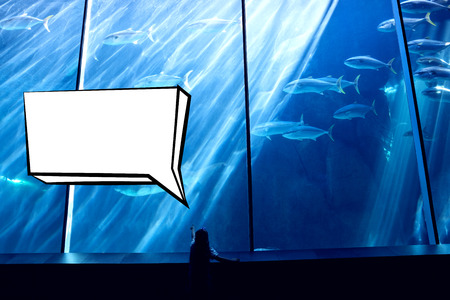 fish tank: Speech bubble against little girl looking at fish tank
