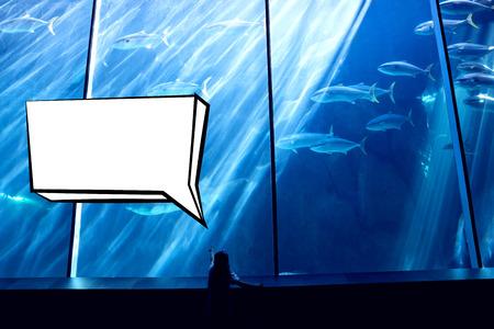 fishtank: Speech bubble against little girl looking at fish tank