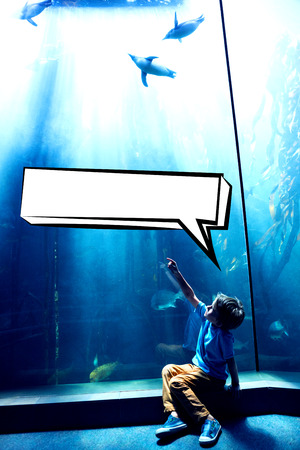 inquiring: Speech bubble against young man pointing a penguins in an illuminate tank