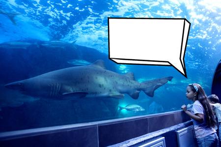 fishtank: Speech bubble against little siblings looking at fish tank